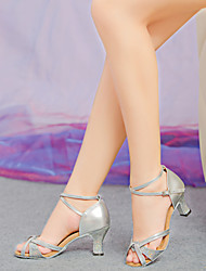 Non Customizable Women's Dance Shoes Latin Leatherette/Paillette Chunky Heel Silver/Gold
