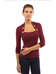 Damen Solide T-shirt,Rollkragen Herbst Langarm Rot / Schwarz / Grau / Grün / Lila Baumwolle Mittel