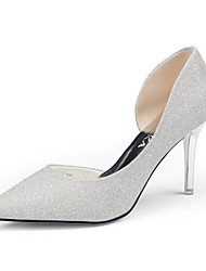 Women's Shoes Leather Chunky Heel Heels/Pointed Toe Heels Wedding/Dress/Casual Black/Silver/Gray