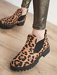 Women's Shoes Fashion Leopard Low Heel Round Toe Ankle Boots