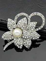 Women's Silver AAA Zircon Crystal Brooch & Pins for Wedding Party Jewelry