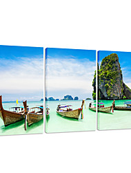 VISUAL STAR®Boat Triptych Canvas Printing Natural Scenery Wall Art Ready to Hang