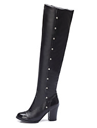 Women's Fall Winter Leatherette Outdoor Office & Career Casual Chunky Heel Sparkling Glitter Black White