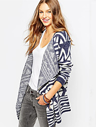 Women's Geometric Blue Cardigan , Casual Long Sleeve