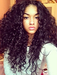 "10""-30""Unprocessed Mongolian Virgin Human Hair Lace Wigs Kinky Curly Lace Front Wigs 130 Density No Shedding"