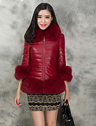 Women's Fashion Casual Fox Fur Spliced Genuine/Real Lambskin Leather Down Jacket/Coat