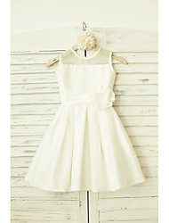 A-line Knee-length Flower Girl Dress - Taffeta Sleeveless Jewel with