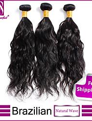 """3pcs / lot 12 """"-30"""" non transformés 6a brésilien jet de cheveux vierges vague naturelle noir cheveux humains cheveux 100% tisse"""