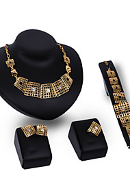 Women Wedding Party Gold Hollow Square Sequined Splicing Necklace Earrings Ring Bracelet Set