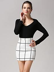 Women's Check White / Black Skirts , Casual / Work Mini