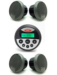receptor de radio estéreo de audio atv utv marina impermeable + 2 pares 3 altavoces impermeables pulgadas