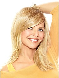 "Fashion Wavy Human Hair Monofilament Top(1"") Medium Capless Women's Wig"