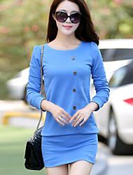 Women's Classical Fashionable Round Long Sleeve Pakage Hip Dress