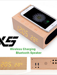 X5 Bluetooth 4.0 Speaker Wooden Wireless Charger with NFC Alarm Handsfree Thermometer Function