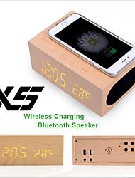 chargeur sans fil Bluetooth 4.0 x5 haut-parleur en bois avec fonction mains libres du thermomètre d'alarme NFC