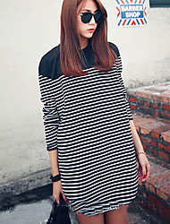 Maternidade Solto / Camiseta / Preto e Branco Vestido,Casual Simples / Moda de Rua Listrado Decote Redondo Acima do Joelho Manga Longa
