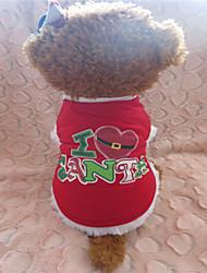 Perros Camiseta Rojo Invierno Corazones / Navidad Navidad