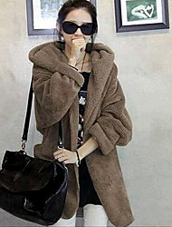 YUYI Women's Solid Color Black / Brown / Gray Coats & Jackets , Casual Cowl Long Sleeve