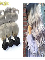 calientes plata grises ombre pelo extensiones 3pcs 1b del pelo humano de la onda del cuerpo de color gris de dos tonos ombre armadura