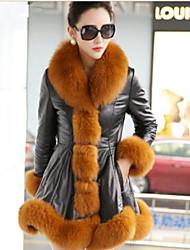 Women Faux Fur / Faux Leather Top , Lined