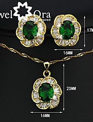 Women's Crystal Brand 18K Gold Plated Party Synthetic Gemstone Fashion Cubic Zirconia Jewelry Set