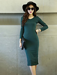 Women's Work Bodycon Dress,Solid Round Neck Knee-length Long Sleeve Red / Black / Gray / Green