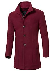 Men's Stand Coats & Jackets , Cotton / Cotton Blend Long Sleeve Casual Pocket Winter NEWJOGAL