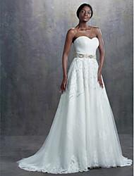 Lanting une ligne robe de mariée - ivoire balayage / pinceau train sweetheart dentelle