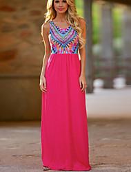 Mulheres Vestido Solto Estampado Longo Decote Redondo Algodão