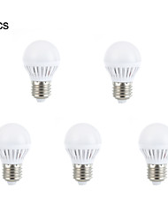 5шт E27 3W 10 SMD 2835 Теплый белый / белый привело лампочки глобус мяч луковицы (AC 220V)