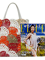 Kate&Co.® Women's Orange Pvc Handwork Splicing Falbala Multi-Function Handbag(14 Inch)