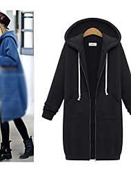 qingxuan Women's Solid Color Black Coats & Jackets , Casual Hoodie Long Sleeve