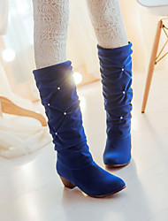 Women's Shoes Black / Blue / Red Low Heel 3-6cm Boots (PU)