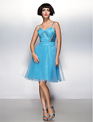 Cocktail Party Dress A-line Spaghetti Straps Knee-length Tulle with Beading