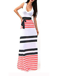 Women's Striped Red / White Dress , Sexy / Casual / Maxi Deep U Sleeveless     LS
