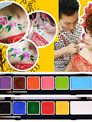 12 Colors Face Paints Magic Pregnant Halloween Body Painting Face Deco with Tool for Party(12 Colors a set + Brush)