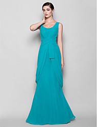 Lanting Bride® Floor-length Chiffon Bridesmaid Dress - Sheath / Column Straps Plus Size / Petite with Criss Cross