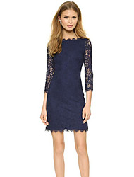 CEN     Women's Lace Blue Dresses , Sexy / Bodycon / Casual / Lace Round ¾ Sleeve