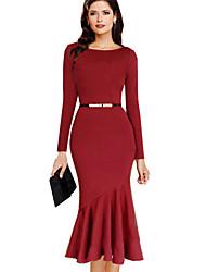 Women's Sexy Solid Trumpet/Mermaid Dress , Round Neck Midi Cotton Blends
