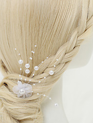 Women's Flower Girl's Alloy Imitation Pearl Chiffon Headpiece-Wedding Special Occasion Hair Pin 1 Piece