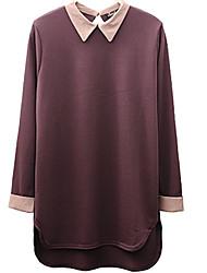 Mulheres Camiseta Colarinho de Camisa Manga Longa Algodão Mulheres