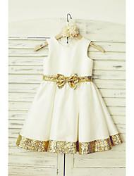 A-line Knee-length Flower Girl Dress - Taffeta / Sequined Sleeveless