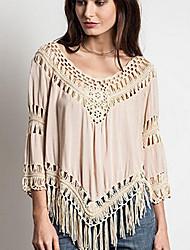 여성의 태슬 라운드 넥 긴 소매 티셔츠 면