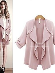 Women's Solid Color Blue / Pink Coats & Jackets , Vintage / Casual V-Neck ¾ Sleeve Plus Size