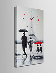 E-HOME® People Under The Umbrella Clock in Canvas 1pcs