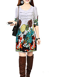 De las mujeres Vestido Sobre la rodilla - Flor / Frunce Escote en U - Mezclas de Lana - Manga Larga
