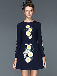 Women's Clothing Autumn Winter Fashion Embroidery Vintage Slim Plus Size  Party/Casual/Work Dresses Black/Red/Navy
