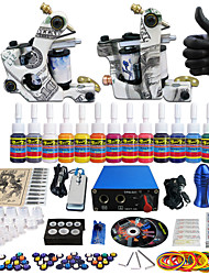 Solong Tattoo Complete Tattoo Kit 2 Pro Machines 14 Inks Power Supply Needle Grips