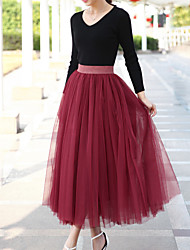 Women Elastic Waist 4 Layers Gauze Tulle Ball Gown Pleated Swing OL Long Skirt