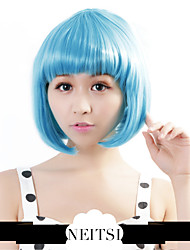 "Neitsi 100% Kanekalon Fiber 14""(35cm) 160g/pc Women's Girl's Cosplay Short Synthetic BOB Hair Wigs Light Blue"